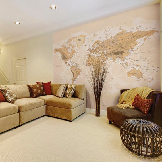 Sepia World Map Photo Wallpaper Wall Mural For Living Room Wall Decor Office Decor Or Dining Room