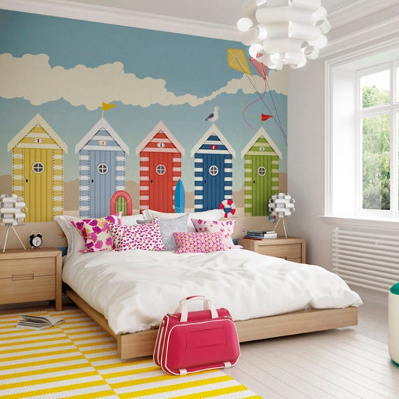 Bedroom Murals Uk: Beach Huts Seaside Wallpaper Mural Designer Beach Hut