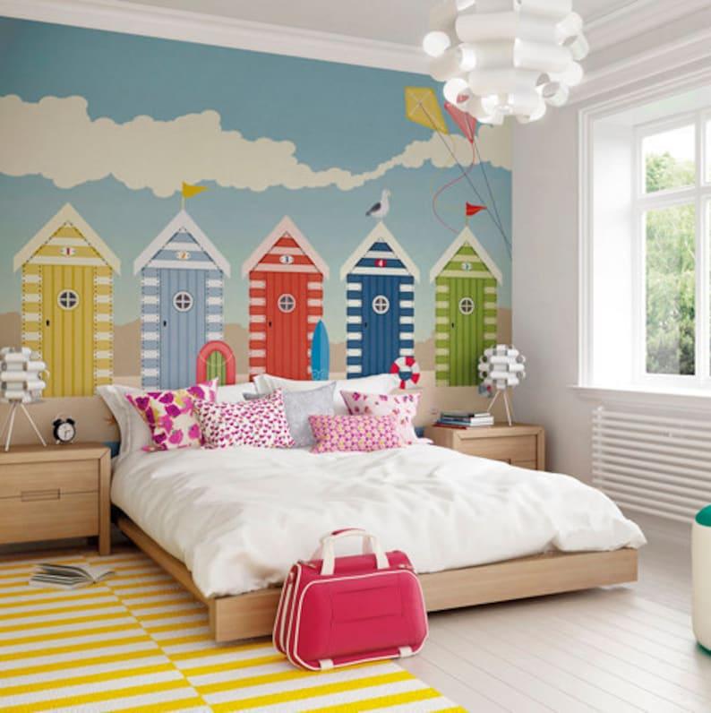 Beach Huts Seaside Wallpaper Mural Designer Beach Hut Seaside image 0