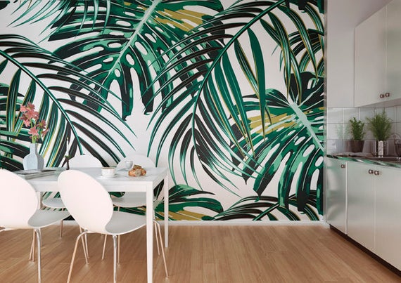 Tropical Leaves Jungle Photo Wallpaper Mural Tropical Leaves Kitchen Wall Decor Exotic Tropical Botanical Leaves Wallpaper Mural Decor