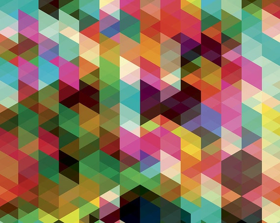 Geometric Multi Colour Wallpaper Mural Geometric Colourful Etsy