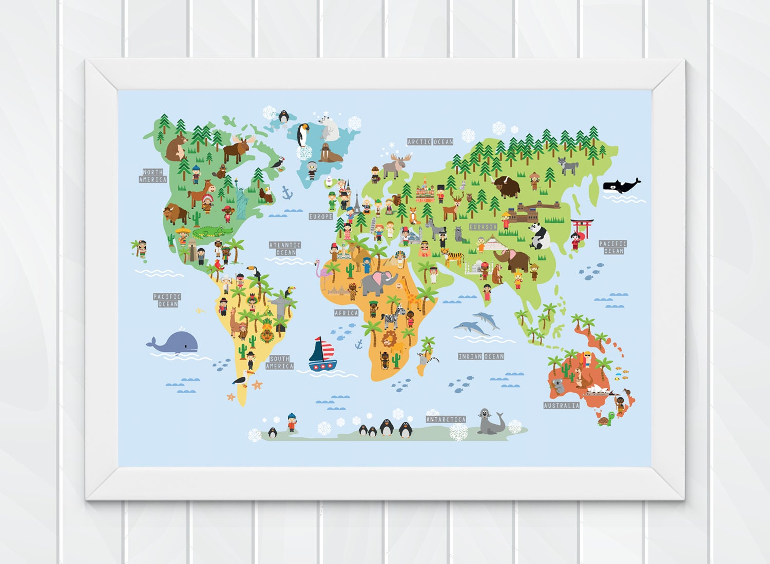 - Children's World Map Wall Print Educational World Map For Etsy