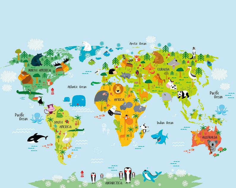 Children S World Map Wallpaper Mural Educational World Etsy