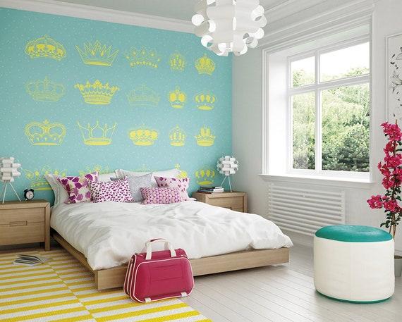Princess Gold Crowns Wallpaper Mural, Modern Princess Crown Girls Bedroom  Wall Decor, Cute Bedroom Ideas, Girly Princess Wallpaper Murals