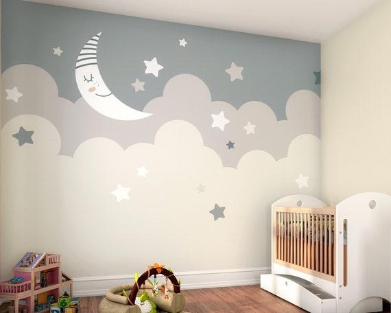 Nighttime Children S Sky Wallpaper Mural Baby Nursery Etsy
