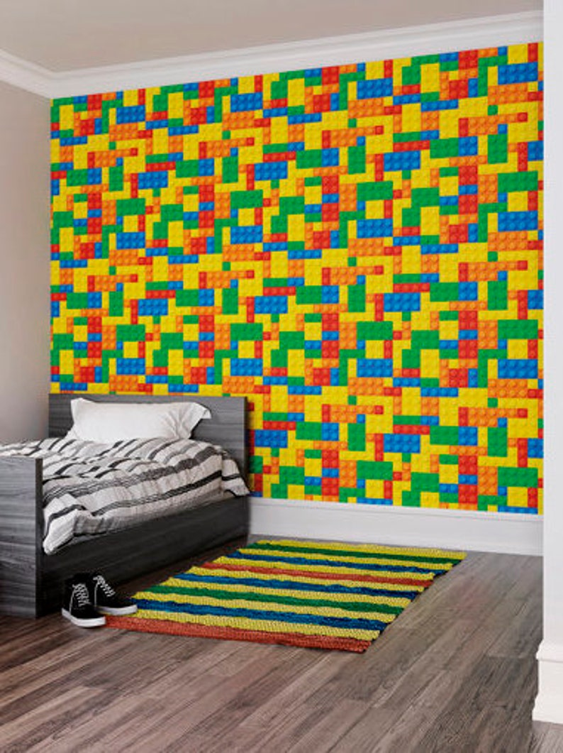 Lego Bricks Photo Wallpaper Kids Bedroom Decor Boy S Etsy