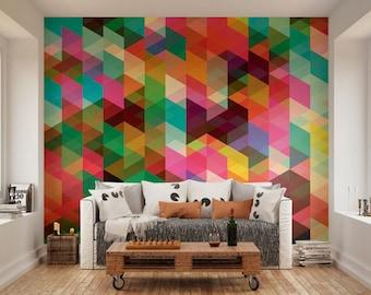 Geometric Multi Colour Wallpaper Mural, Geometric Colourful Shapes Wall Art Office Room Decor, Geometric Wallpaper Roll Wall Covering
