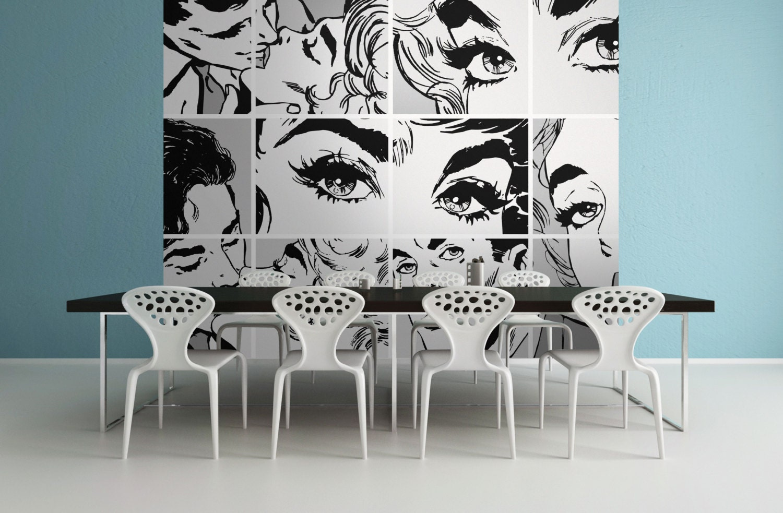 Black And White Pop Art Photo Wallpaper Wall Mural For Bedroom Etsy