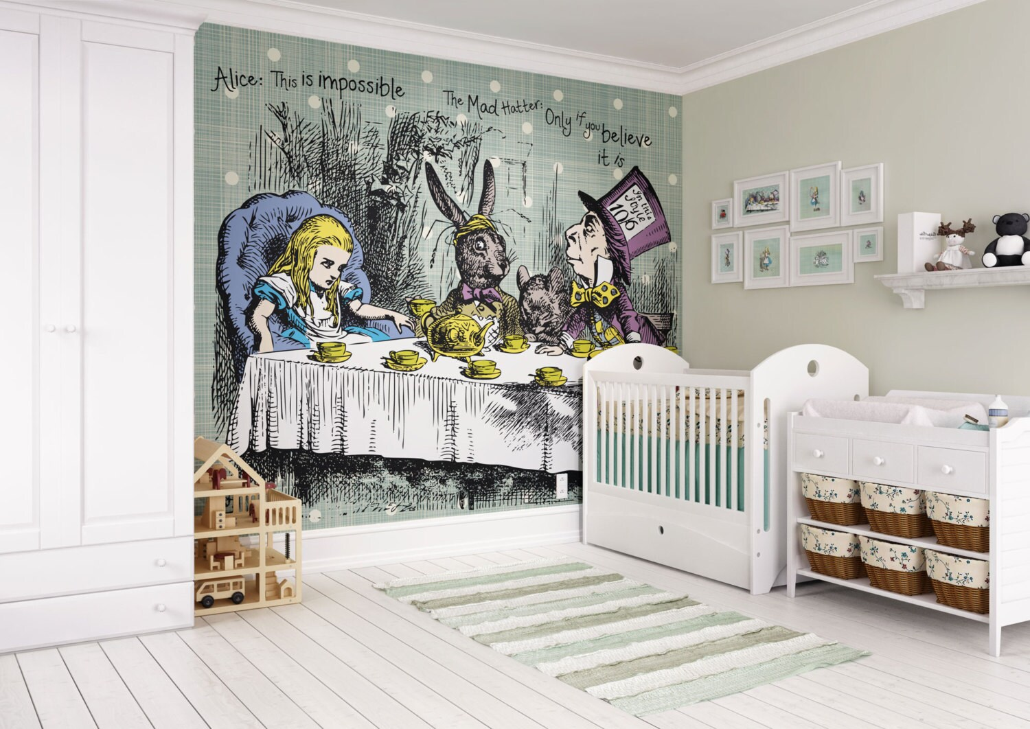 Mad Hatter Tea Party Wallpaper Mural Alice In Wonderland Wall Etsy