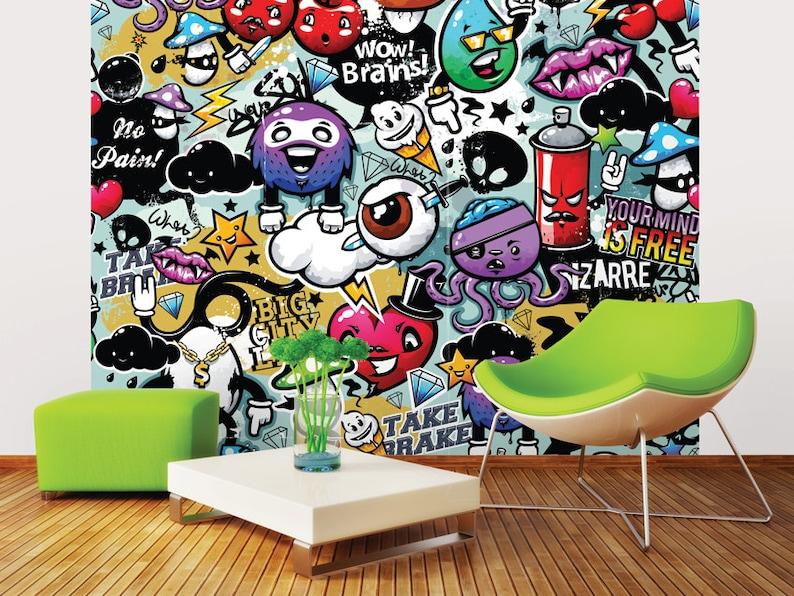 Funky Graffiti Doodle Monsters Photo Wallpaper Wall Mural ...