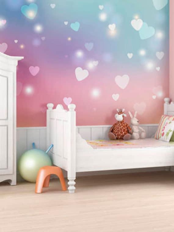 Pink Hearts Wallpaper Mural Girls Bedroom Decor, Heart Wall Pattern Design  Pretty Bedroom Ideas, Nursery Heart Wall Covering Home Decor