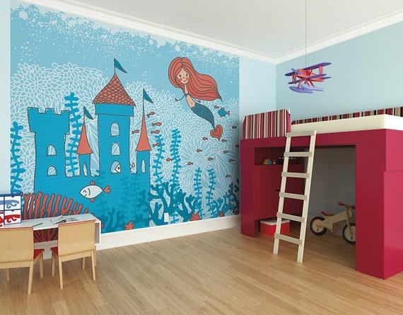 The Little Mermaid Wallpaper Mural Kingdom Under The Sea With The Mermaid Castle Nursery Wall Decor Mermaid Vibes Girls Pretty Wallpaper
