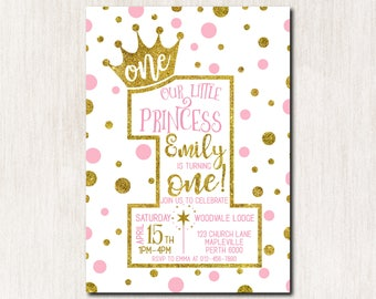 1st Birthday Invitation Princess Crown Pink Gold Dots Girl First Any Age DIGITAL FILE 1615