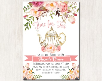 time for tea with the bride to be tea party bridal shower invitation bridal shower invitation watercolor floral invite digital file 1829
