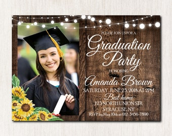 Graduation invitations etsy sunflowers graduation party invitation class of 2018 party high school graduation invitation graduation invitation digital file 1825 filmwisefo