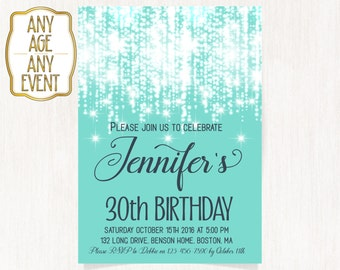 30th Birthday Invitation Luxury Teal Green Glitter Invitations Turquoise Any Age DIGITAL FILE ONLY 1575