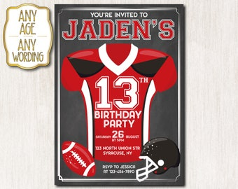 american football invitation american football birthday invitation 13th birthday invitation football birthday invitation any age 1654