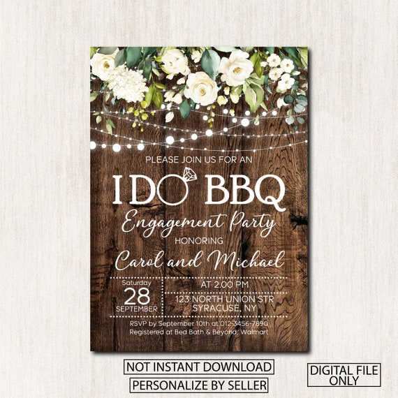"""I DO /""""BBQ/"""" Engagement Party Invitation Save The Date Card Mason Jar"""