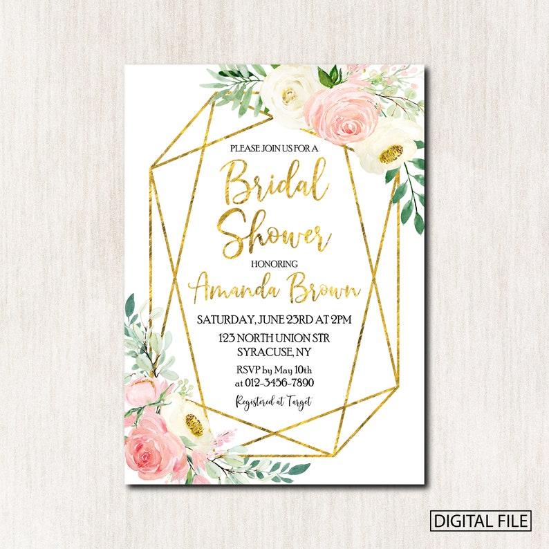 Any wording 1887 Polygonal Wedding Shower Invitation Polygon Geometric Invitation DIGITAL FILE ONLY Geometric Bridal Shower Invitation