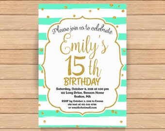 15th Birthday invitation Pink and Gold Birthday Invitation