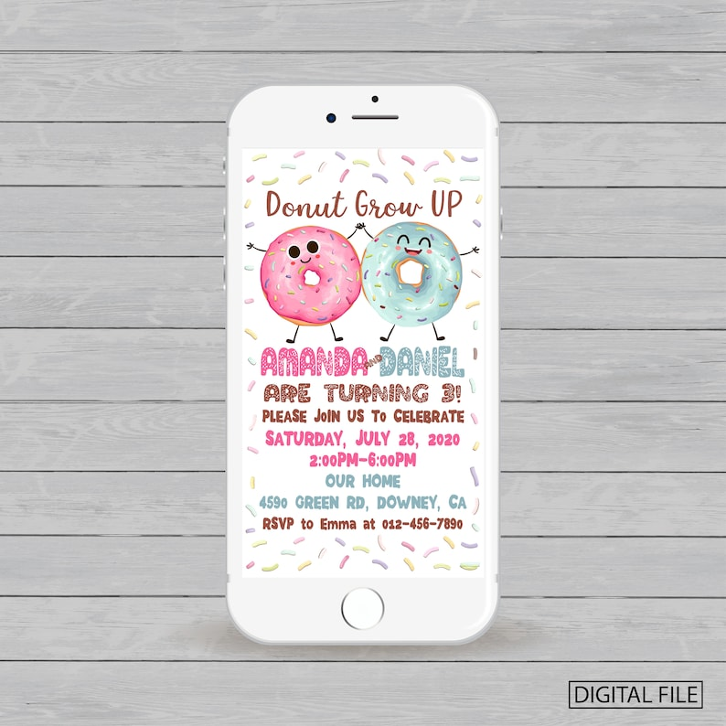 Electronic Twins Birthday Invitation Donut Party