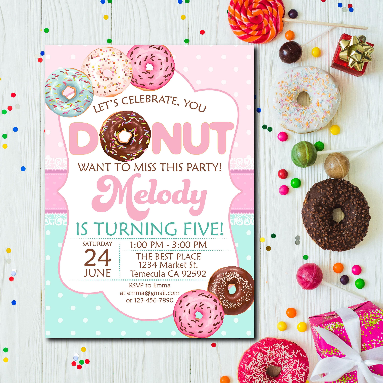 Donut Birthday Party Invitation Donut Party Invitation Donut | Etsy