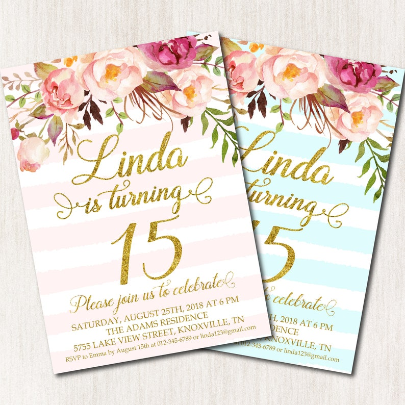 15th Birthday Invitation Fifteenth Birthday Party Floral Etsy