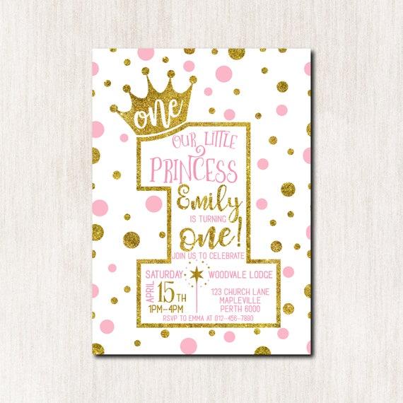 1 Geburtstags Einladung Prinzessin 1 Geburtstagseinladung Etsy