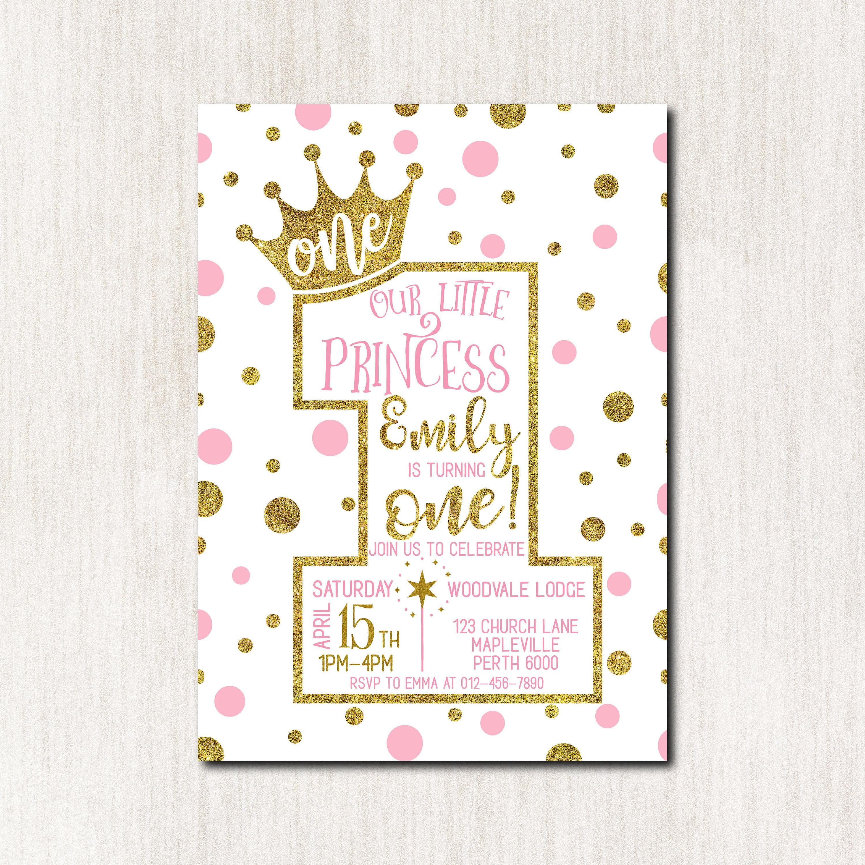 1st Birthday Invitation Princess