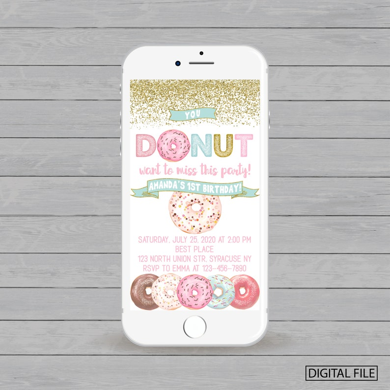Electronic Donuts 1st Birthday Invitation Donut Party