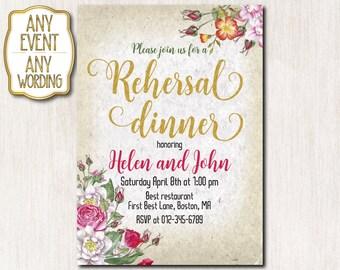 Rehersal dinner invitation, Rehersal dinner party, Spring flowers invitation, Spring invitation, Gold glitter ANY AGE-1610