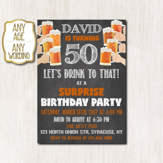 50th Birthday Invitation Man Chalkboard