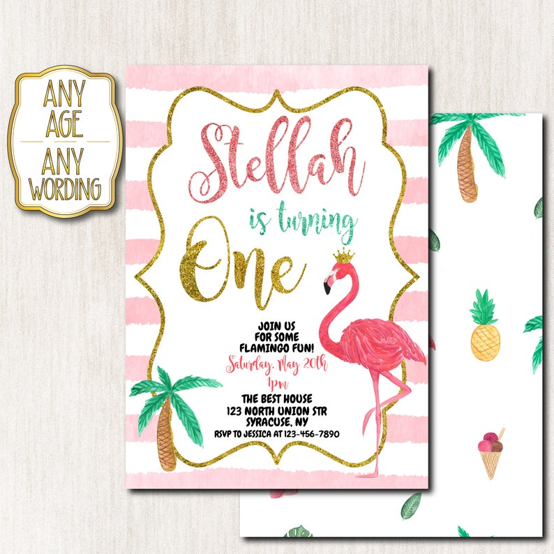 Flamingo 1st Birthday Invitation With Background Glitter Pink