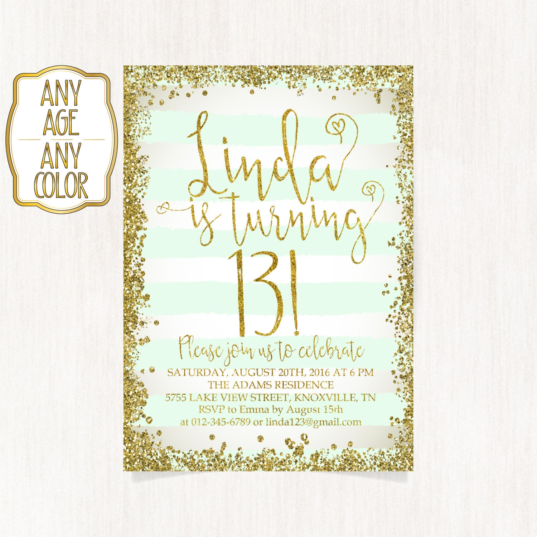 13th Birthday Invitation Thirteenth Party Gold