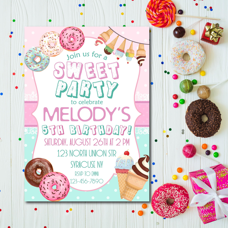 Sweet Birthday Party Invitation Donut and Ice cream Party | Etsy