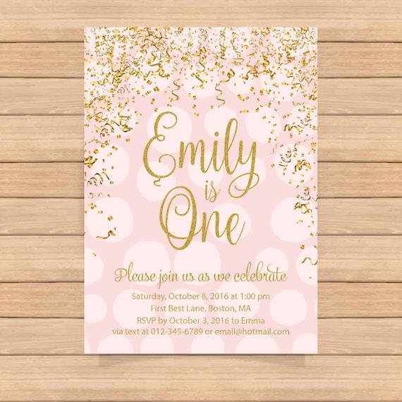 1st birthday invitation pink and gold birthday invitation etsy
