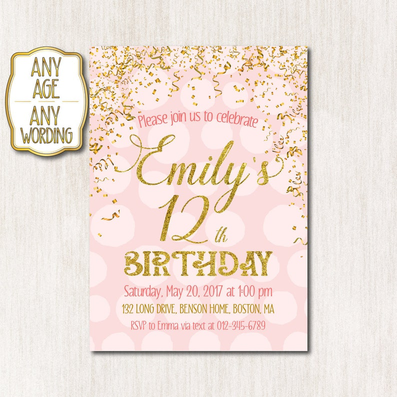 12th Birthday Invitation Pink And Gold Birthday Invitation Card Teens Invitation Girl Birthday Any Age Digital File Only 1525