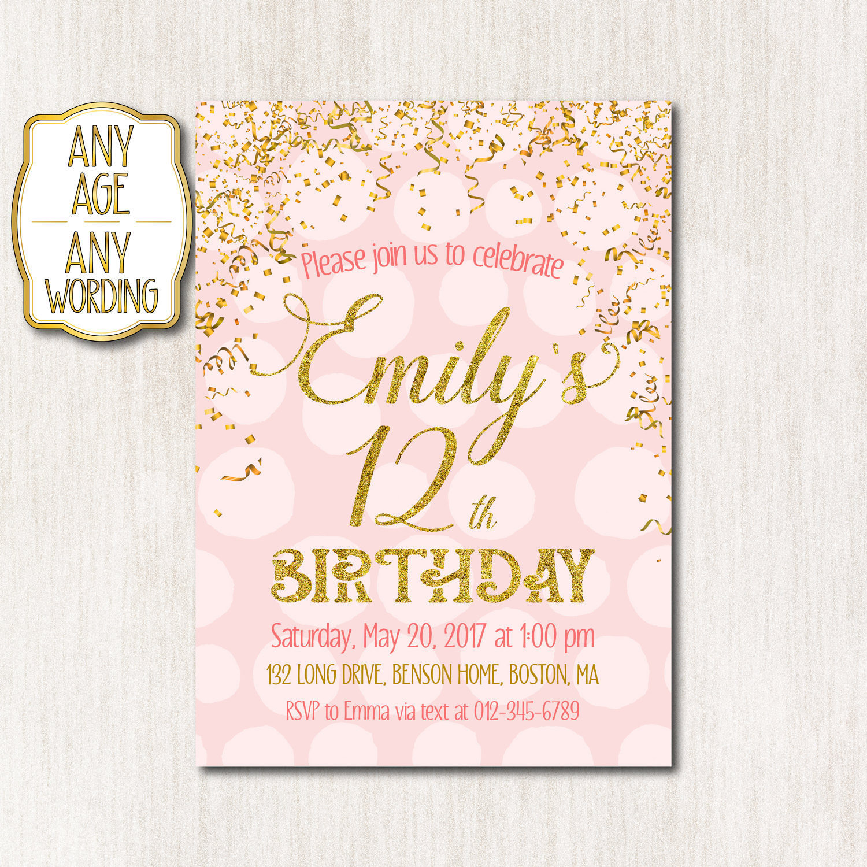 12th Birthday Invitation Pink And Gold Birthday Invitation Etsy
