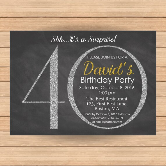 40th Birthday Invitation Woman Bday Man Silver