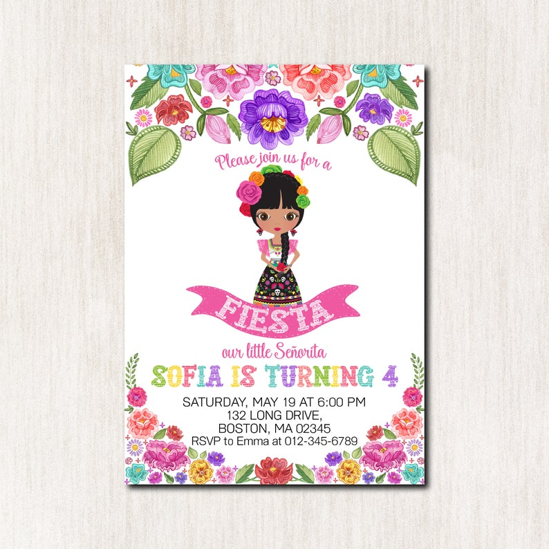 Fiesta 4th Birthday Invitation Mexican Girl Party
