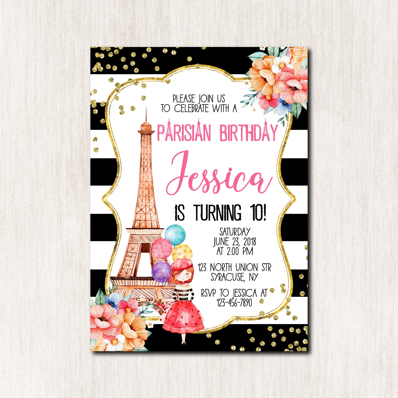 Paris Birthday invitation Eiffel Tower Paris Invitation 10th | Etsy