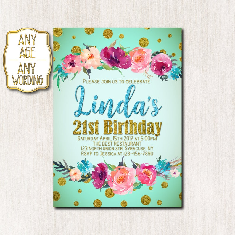 21st Birthday Invitations Spring Invitation Woman