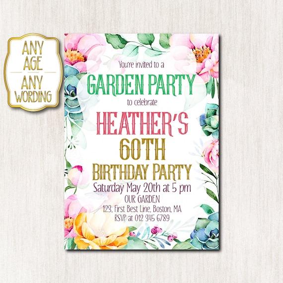 60th garden party invitation 50th birthday party invitations etsy