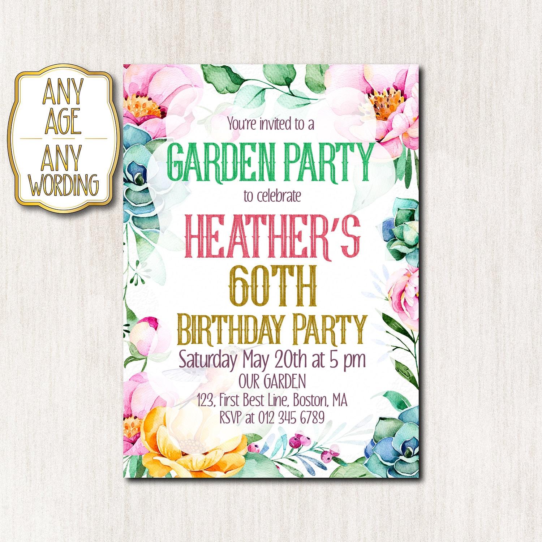 60th garden party invitation 50th birthday party Invitations | Etsy