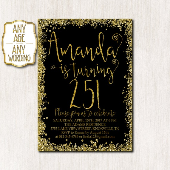 25th Birthday Invitation Party Gold