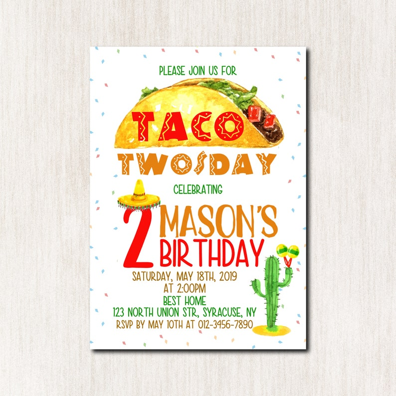 Taco Twosday 2nd Birthday Invitation Fiesta Party