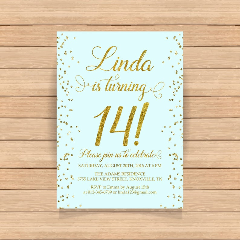 14th Birthday Invitation Fourteenth Birthday Gold Glitter Etsy
