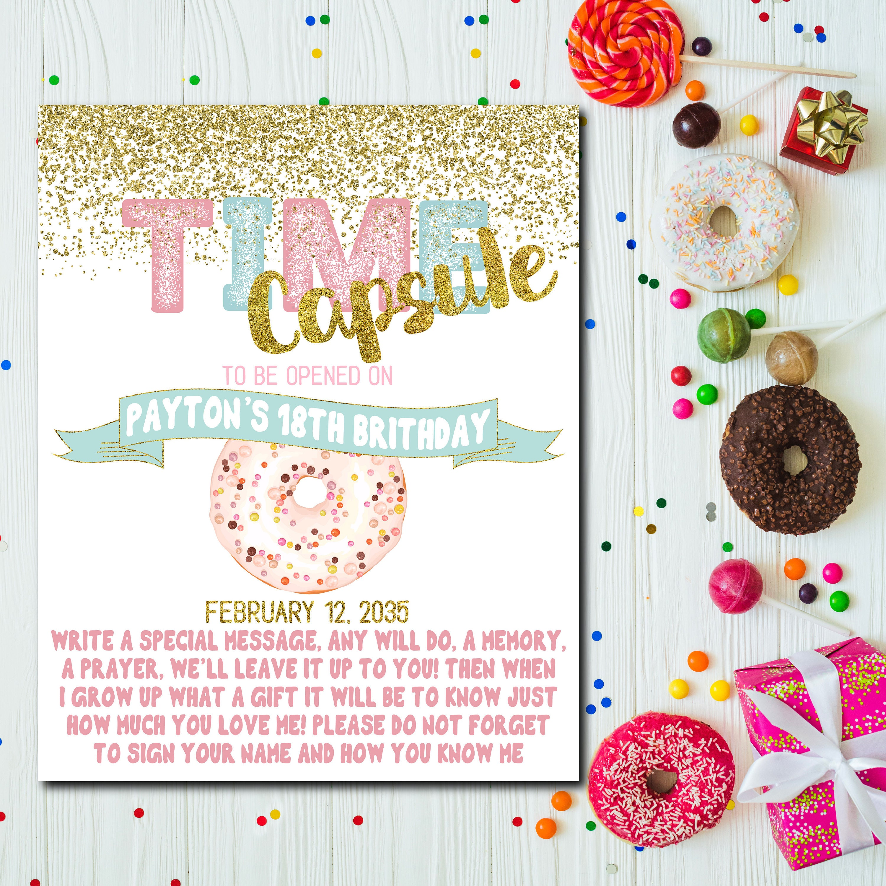 Time Capsule for Donuts 1st Birthday Invitation Time capsule | Etsy