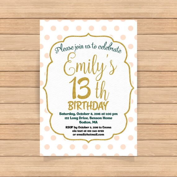13th Birthday Invitation Girl Pink Gold Invitations