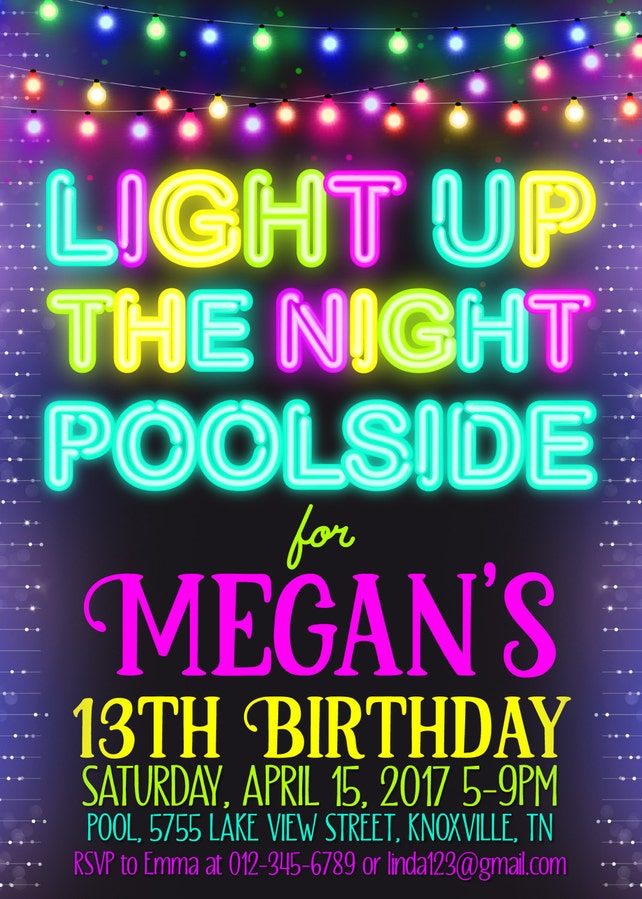 Pool Party Invitation Neon Birthday 13th String Lights Teen ANY AGE
